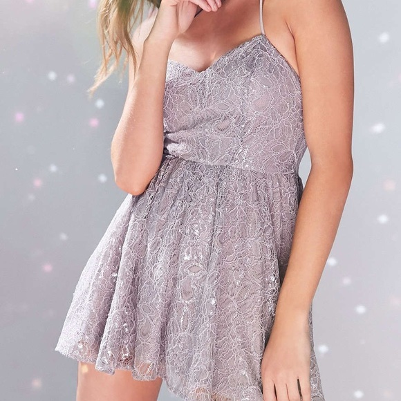 Urban Outfitters Other - kimchi blue sparkle lace romper grey